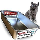iPrimio Ultimate - Arenero de Acero Inoxidable para Gato XL - Nunca Absorbe olores, Manchas oxidadas - sin residuos - fácil Limpieza - diseño de Caja de Arena para Gatos (1 Pan)