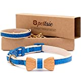 Pettsie - Collar con lazo para gato con pulsera de seguridad y amistad para ti, 100% algodón duradero para mayor seguridad, anilla en D para accesorios, cómodo y suave, tamaño fácil ajustable de 8 a 11 pulgadas