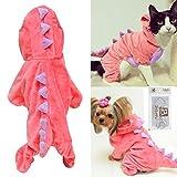 Pet felpa Outfit disfraz de dinosaurio con capucha para perros pequeños y gatos ropa de abrigo de invierno Jumpsuit Cálido