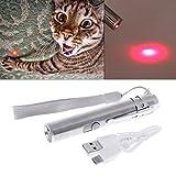 ECMQS Gatos Teaser juguete, 3 en 1 Interactive LED Luz puntero Pen USB recargable linterna Pen