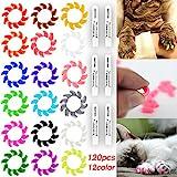 Smarthing 120 Unidades (12 Colores) Gato Garra Tapas de Goma Suave y Cristal Mascotas Paws Nail Grooming Cover + 6 Piezas Pegamento Adhesivo