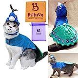 Bro 'bear Pet pavo real disfraz con sombrero para perros y gatos pequeños, color azul