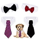 Comius Sharp Corbatas y Pajarita Ajustables de Mascotas, 4 Piezas de Pajarita de Mascotas Corbata Ajustable Ropa Gato Corbatas de Mascotas Perros para Cachorros Accesorios de Fiesta