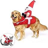 KATELUO Disfraz Gato de Navidad, Perro Ropa Navidad, Disfraz de Navidad para Mascotas, Disfraz Navidad Perro con Papá Noel Montado en Mascota Gato Perro Abrigo Rojo (L)