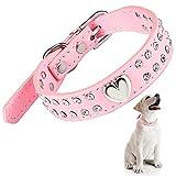 Collar de Perro de Cristal Collar de Mascotas con Diamantes de Imitación Collar de Cachorro Brillante Collar de Perro de Cuero de PU con Tachuelas de Corazón Collar Rosa Ajustable, Talla S