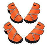 Petacc - Botas Impermeables para Perro para Perros Grandes y Mascotas, Zapatos al Aire Libre con Velcro Reflectante Ajustable y Suela Antideslizante, 4 Unidades