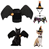 3 Pcs Disfraz para Gato de Halloween, Taumie Disfraz de murciélago para Halloween con 2 Pcs Campanas de Calabaza, Babero para Perros y Sombrero de Bruja, para Halloween Pets Party Ropa De Cosplay