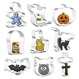 Olywee Juego de 9 cortadores de galletas de Halloween – gato, calabaza, gato asustado, fantasma, cara de gato, murciélago, lápida, cruz y hombre de jengibre