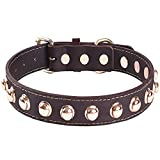 Collar de Perro de Cuero Genuino con Tachuelas Collares Ajustables Para Mascotas Lo Mejor Para Perros de Razas Pequeñas, Medianas, Grandes y Extra Grandes (Marrón) (S)