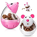 2 Alimentadores Interactivos de Comida de Gatos Bola de Comida de Gatos Volteador de Comida de Ratones Bola de Golosina de Mascotas en Forma de Ratón Juguete de Bola de Comida para Gatos Mascotas