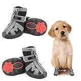 Dociote Zapatos para perros pequeños, antideslizantes, con correas reflectantes, malla suave, transpirable, ajustable, con cremallera, para perros pequeños y medianos, 4 unidades, color negro