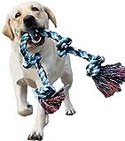 LECHONG - Cuerda de juguete para masticadores agresivos para perros grandes y medianos de 3 pies y 5 nudos, cuerda de algodón indestructible para perros grandes y pequeños, juguete de limpieza de dientes