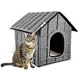 PUPPY KITTY Casa para Gatos para Exteriores, Resistente al Invierno, Plegable, con colchón extraíble, Suave y cálido para Perros, Gatos, Perros, Conejos