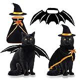 Byhoo disfraz de bruja de Halloween para mascotas, sombrero 3 piezas para mascotas de disfraces para gatos pequeños, perros, decoraciones mágicas divertidas para fiestas temáticas de Halloween