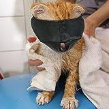 Xbes - Bozal de Nailon para Gato, máscara para Cara de Gato, Ayuda al Peluquero, Herramientas de Aseo para Gatos, Evita arañazos y mordiscos, Color Negro