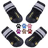 Qumy Qumy - Botas Impermeables para Perros Grandes con Velcro Reflectante, Suela Antideslizante Negra, 4 Unidades (Tamaño 6: 2,9 x 2,5 Pulgadas)