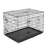 PawHut Transportín de Perro de 2 Puertas Jaula de Alambre para Perros Plegable con Asa Acero 76x53x60 cm Negro