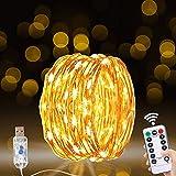 Guirnalda Luces, 20M/200 LED Luces Led USB Guirnalda Luces Interior Habitacion Luces Navidad Alambre de Cobre 8 Modos con Mando a Distancia y Temporizador Luces Decorativas para Árbol Bodas Fiesta