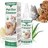 SEGMINISMART Limpiador de Oidos para Perros, Limpiador de Oídos para Perros y Gatos,Gotas De Orejas para la Comezón, Ácaros, Dolores de Cabeza y el Mal Olor