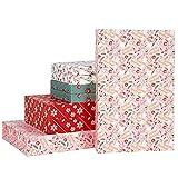 RUSPEPA Paquete De 8 Cajas Navideñas - Cajas De Copos De Nieve Y Plantas Navideñas De Tamaños Surtidos con Tapas, Vacaciones, Celebraciones Y Fiestas