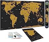 WIDETA Mapa del mundo a rascar en español/Póster gran formato (82 x 43 cm)/ Incluidos Mapa de España, adhesivos y herramienta de rascado