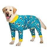 Ropa para perro, adorable pijama elástico para dormir, anticabello, a prueba de polvo, ropa de cuatro patas, ropa para perros medianos, perros grandes (30, azul)