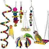 Juguetes de Loro Pájaro, Camiter 7pcs Juguetes para Pájaros Juguete Colgante para Mascotas con Campanas,Columpios,Juguete de Masticación para Pequeños y Medianos Loros de Aves, Periquitos, Pinzones