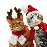 Disfraz de perro para mascotas, capa de Navidad, gorro de Papá Noel, bufanda, sombrero de astas, pajarita, bonito disfraz de Navidad para gato, regalo