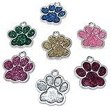 Grneric 7 Piezas Etiquetas de identificación de Mascotas grabadas Personalizadas Etiqueta de Perro Anti-perdida Impresión de Pata Placas de (Púrpura, Verde, Dorado, Plateado, Azul, Rosa, Rojo)