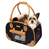 PetsHome - Bolsa de transporte para perros, transportador de mascotas, transportador de gatos, plegable, impermeable, de piel de primera calidad, para viajes, portátil, para gatos y perros pequeños, hogar y exterior