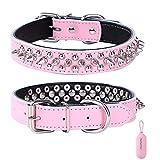 Rachel Pet Products - Collar de perro de piel auténtica con tachuelas para mascotas pequeñas o medianas, color rosa, M