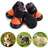 Petilleur Botas para Perros Respirable Zapatos para Perros Antideslizante para Actividades Al Aire Libre (45, Naranja)