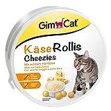 GimCat Rollis, comprimidos de queso - Snack para gatos rico en vitaminas sin cereales con auténtico queso duro - 1 lata (1 x 200 g)
