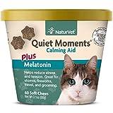 NaturVet Quiet Moments - Ayuda calmante y melatonina para Gatos, 60 Unidades masticables Suaves, Fabricado en Estados Unidos