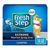 Fresh Step Extreme Arena perfumada con el Poder de Febreze, Arena para Gatos aglutinante - Mountain Spring, 14 LB, Gris