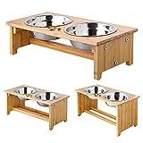 ForeYY - Cuencos elevados para Gatos y Perros - Comedero para Perros y Gatos de bambú con 2 Cuencos de Acero Inoxidable y pies Antideslizantes - Pendiente de Patente