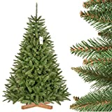 FairyTrees Pícea Natural, Tronco Verde, Árbol de Navidad Artificial, PVC, Soporte de Madera, 180cm