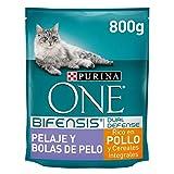 PURINA ONE Bifensis Pienso para Gatos Cuidado de Pelaje y Bolas de Pelo Pollo y Cereales 8 x 800 g