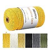 Cordón de algodón macramé, hilo de hilo de 3 mm x 200 m, cordón de algodón de color 100% natural para manualidades de bricolaje, colgadores de plantas, decoración navideña para bodas, hogar