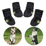 Zapatos para Perros, 4 Pcs Impermeable Zapatos Perro para Mediano y Grandes Perros - Negro (7#)