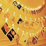 Hezbjiti 20 LED Photo Clips Luces de Cadena, 3m/9.8ft Clip Cadena de Luces Blanco Cálido para Habitaciones Colgando Fotos Dormitorio Navidad Fiesta Boda