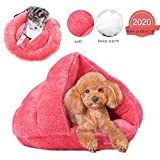 aingycy Cueva de gato pequeña cama para perro cueva autocalentable cama para gatos de forro polar cueva para perros pequeños y gatos (rosa)