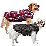 MIGOHI - Chaqueta para perro para invierno, resistente al viento, impermeable, reversible, para frío, estilo británico, chaleco para perro caliente, para perros pequeños, medianos y grandes, color rojo