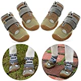 Нсрet Zapatos Perro, 4 Pcs Respirable Zapatos Antideslizantes para Perros, Antideslizante y elástica Resistente para Mediano y Grandes Perros (3#)