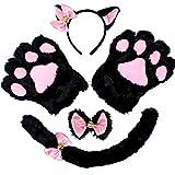 Kitty Gatito Gato Disfraz Rosa de Accesorios para Adultos y niños de Halloween