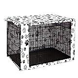 chengsan Funda para jaula de perro de doble puerta, duradera, resistente al viento, cubierta para jaula de alambre para protección interior y exterior (76,2 cm, hueso)