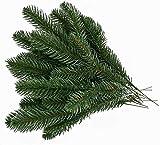 Kyrieval 30 Uds Ramas de Pino Artificiales Hojas Verdes Guirnalda de Agujas Plantas Verdes Agujas de Pino para Adornos Navideños y Hogar y Jardín