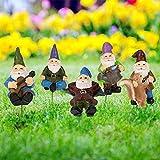 Estatuas de gnomos para jardín de Wikay, divertidas, en miniatura, estatuas enanas pequeñas, impermeables al aire libre, gnomos con barba blanca, palo de 10 cm para patio, decoración de Halloween