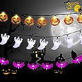 Luces Halloween, Calabazas Decorativas Cadena de Luces Led 3 Cuerdas de 60 Pulgadas, Luces Halloween Exterior Usado para Decoracion Pared, Decoracion Fiesta, Halloween Decoracion