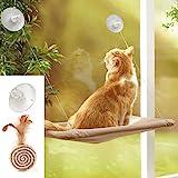Sunny Seat cama para gato, ventana para gato, cama grande con diseño de hamaca con 2 divertidos juguetes para gatos, ventosas para asiento de ventana, todo alrededor de 360°, para cualquier gato, tela de lujo impermeable y transpirable